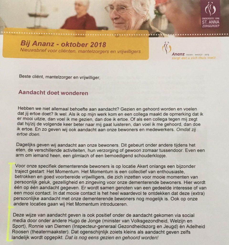 Uit voorwoord Marion van Zoom, MBA Directeur Ananz WWZ