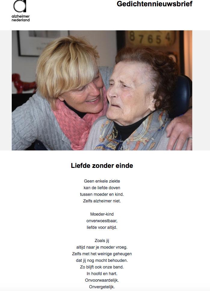 Gedicht van Het Momentum gepubliceerd in gedichten nieuwsbrief van Alzheimer Nederland